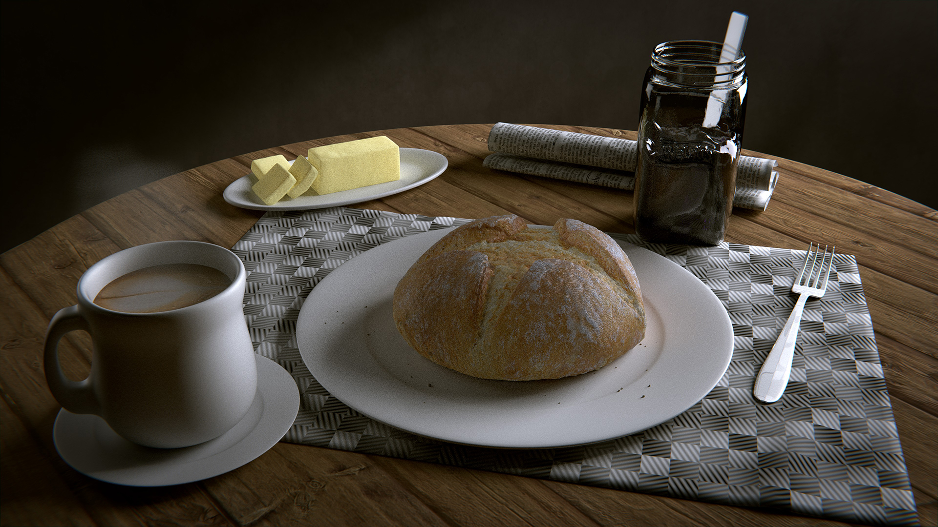 Bread, butter, and coffee